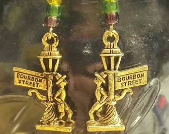 Mardi Gras Lamppost Dangle Earrings