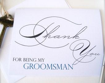 Groomsman thank you card, best man card, groom's party card, wedding thank you card, wedding party thank you, groomsmen thank you(ty1)