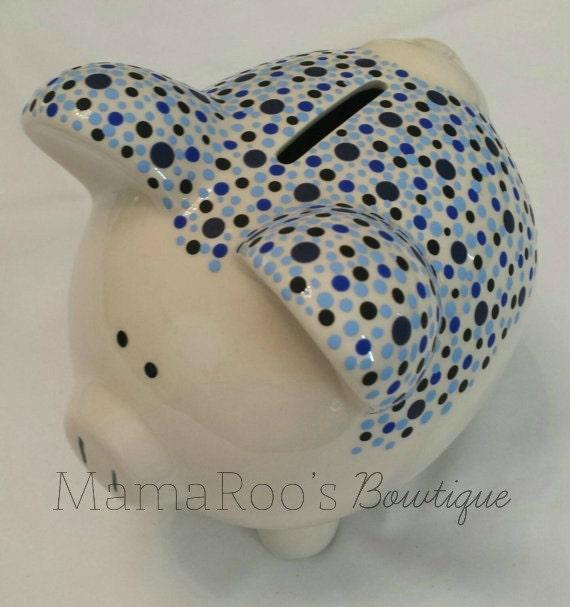 Ceramic hand painted blue black piggy bank baby boy - Ceramic piggy banks for boys ...