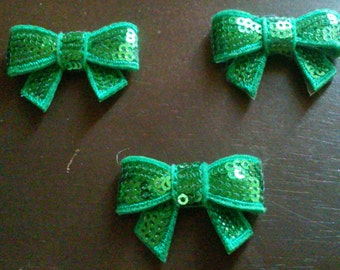 "Green 1.5"" Mini Sequin Bows Diy Headband Supplies"