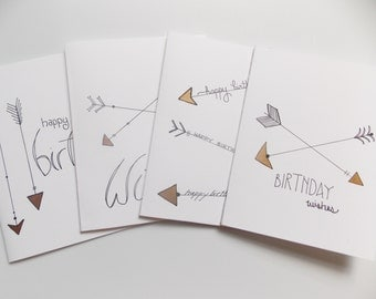 Birthday Card Set - Birthday Card Pack- Arrow Birthday Card - Fancy Birthday Card - For Mom - For Sister - For Friend - Simple Card