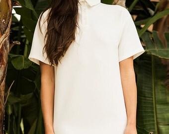 Minimal White Polo Dress