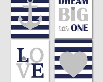 Dream big little one, Nautical nursery set, anchor wall art, navy blue grey nursery decor, baby boy nursery printable -INSTANT DOWNLOAD