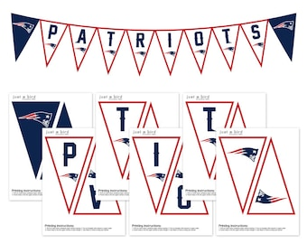 New England Patriots Banner, Patriots Superbowl PRINTABLE Banner, Party Decor, Patriots printables, Super bowl banner, Kickoff