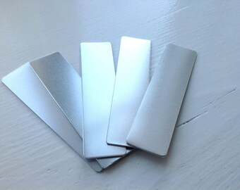 5 Uk made Money Clip quality aluminium 25mm x 100mm blanks 1.2mm (16 gauge) thick for hand stamping.