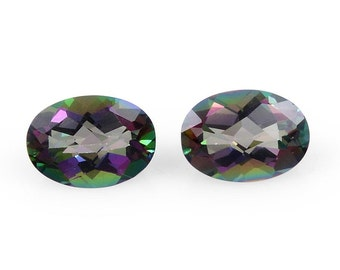 Mystic Northern Lights Topaz Set of 2 Oval Cut Loose Gemstones 1A Quality 6x4mm TGW 1.00 cts.