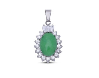 Green Quartzite Oval, Simulated Diamond Pendant Without Chain Silver-Tone TGW 16.00 cts.