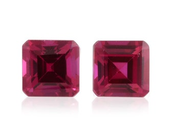 Ruby Synthetic Lab Created Loose Gemstones Set of 2 Octagon Cut 1A Quality 6mm TGW 2.65 cts.
