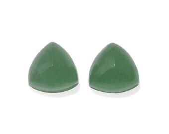 Green Aventurine Quartz Trillion Cabochon Loose Gemstones Set of 2 1A Quality 9 mm TGW 5.10 Cts.