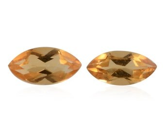Brazilian Citrine Marquise Cut Set of 2 Loose Gemstones 1A Quality 6x3mm TGW 0.35 cts.