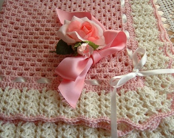 Baby cover handmade crocheted in pure wool-covered crochet for cradle and pram-pink blanket Granny workmanship