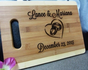 Just Married Gift - Personalized Bamboo Cutting Board