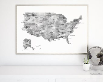 36x24 Map Black And White Watercolor Usa Map Printable Grayscale Us Map With