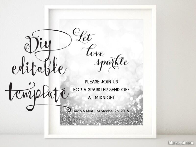 printable sparkler sign template sparklers send off sign let