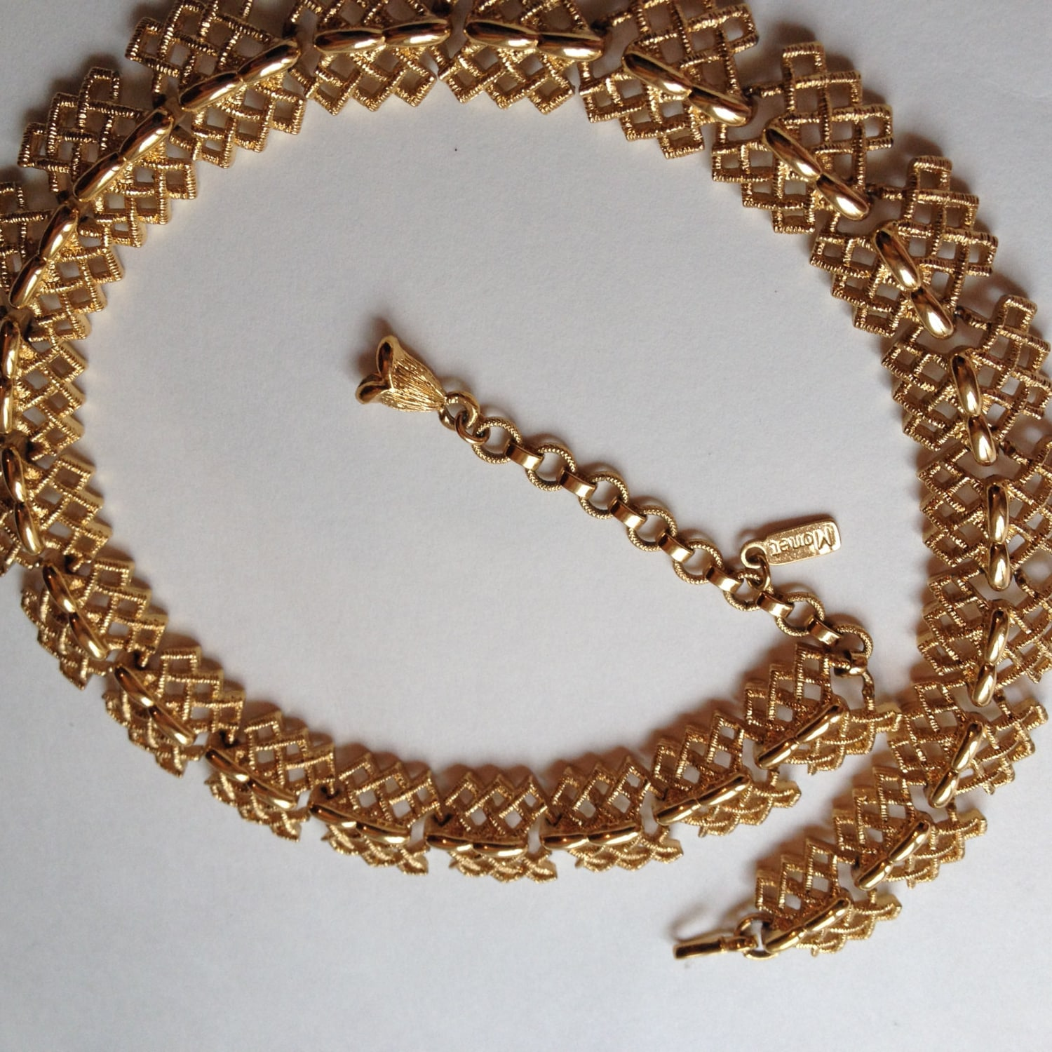 vintage monet necklace gold tone signed textured bold gold