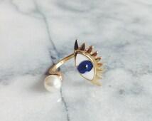Gold Plated Evil Eye Ring - Designer Ring, Gold Ring, Pearl Ring, Adjustable Ring, Stacking Ring, Statement Ring, Cocktail Ring