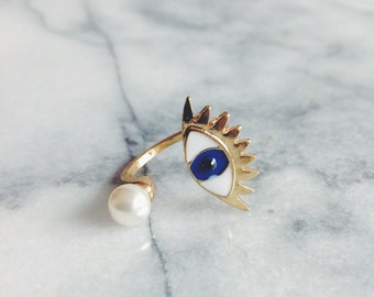 Gold Plated Evil Eye Ring - Designer Ring, Gold Ring, Pearl Ring, Adjustable Ring, Stacking Ring, Statement Ring, Cocktail Ring