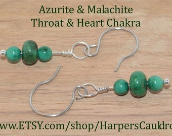 Azurite & Malachite Earrings, on Silver Headpin and Hand-Made Stainless Steel Fishhook Earwires