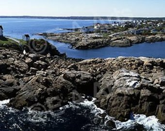 Nubble Light York Maine Aerial Maine Panoramic Photography US MADE Maine Art Print Maine Photographer Paul Vose