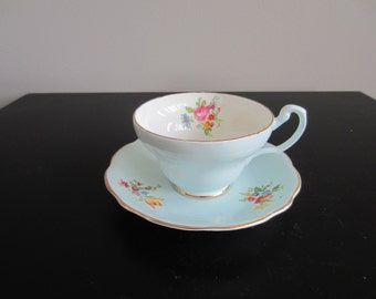 Foley Cup and Saucer - Baby Blue and Flowers - 2968