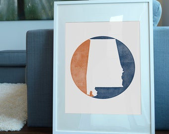 Auburn University inspired art print