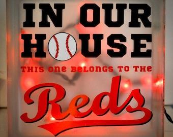 Cincinnati Reds Inspired Lighted Glass Block