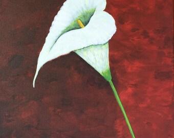 Calla Lily Painting, Original Painting, White Flower, Original Art, Flower Art, 14x18 in. MelidasArt, Valentine Gift, SALE