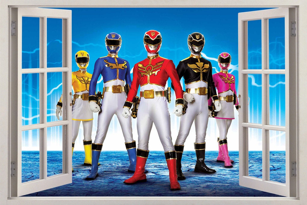 power rangers 3d window decal wall sticker home by printadream power rangers red decal removable wall sticker home decor