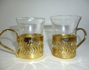 Glass Coffee Cups Metal Holder
