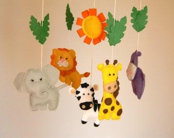 Baby Crib Mobile - Safari Baby Mobile - Nursery Jungle Mobile-Felt Jungle Mobile Tiger - Lion - Hippo - Giraffe - Monkey - Elephant
