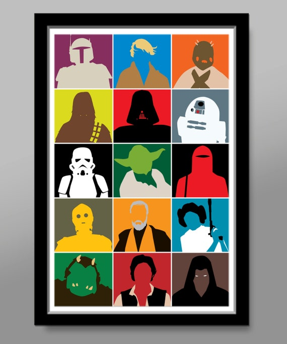 star wars characters inspired minimalist movie poster pop. Black Bedroom Furniture Sets. Home Design Ideas