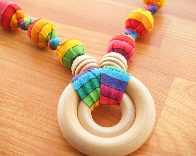 Nursing Necklace, Teething Necklace, Breastfeeding Necklace, Baby Wearing Necklace Fabric Necklace, Baby Shower Gift - Double Ring - Rainbow