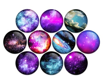 Space Galaxy Moon Planet Stars Pin Back Button Badge Pin or Magnet (pack of 10)