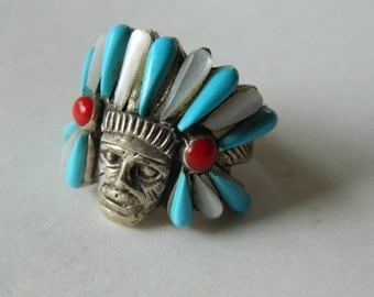 Fabulous- Native American silver ring- Inlaid stones