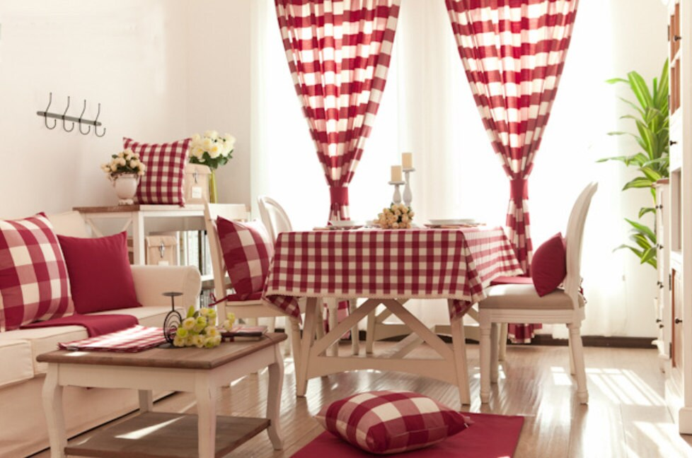 Red Buffalo Gingham Check Plaid Curtain Panel. by HereIsTheShop