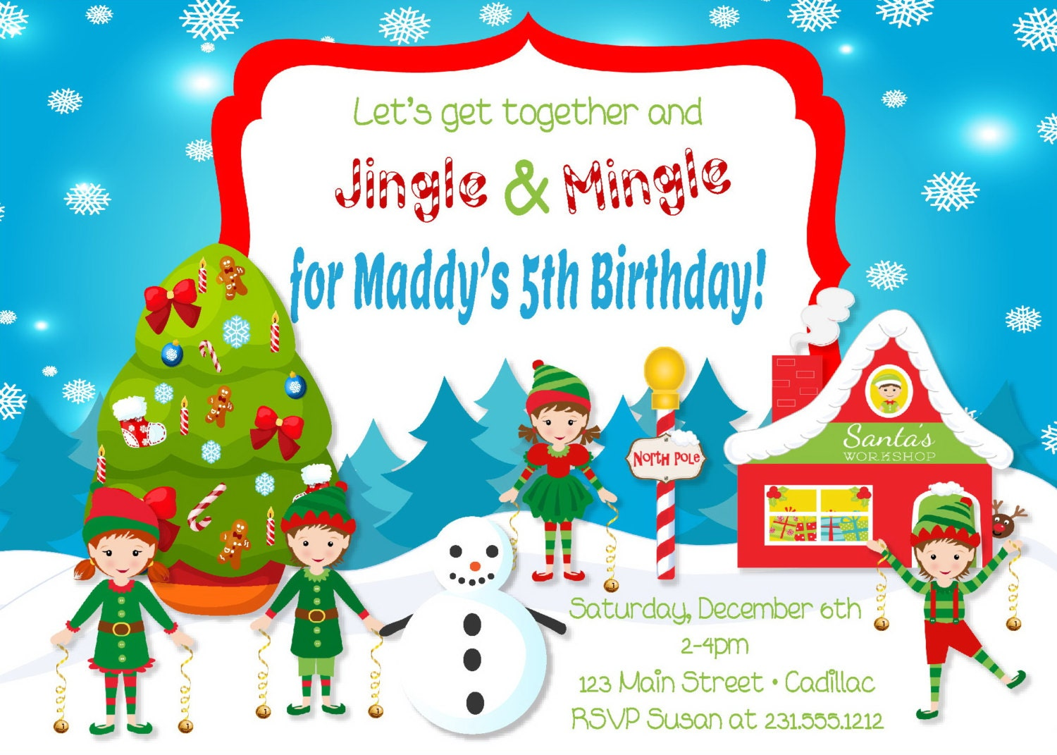 Kids Christmas Party Invitations Jingle & Mingle Kids