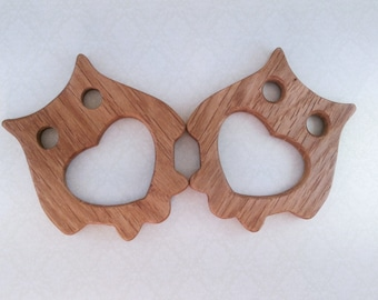 Organic Wooden teether toy - Natural Wooden Toy - Teether of oak - Handmade wooden teether Owl