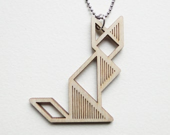 Tangram cat necklace ~ Laser cut from birch wood ~ Geometric pendant ~ Gift boxed