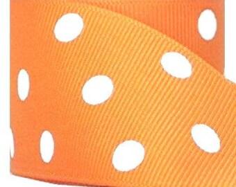 "1"" Orange with White Polka Dot Print Grosgrain Ribbon 1"" x 1 yard"