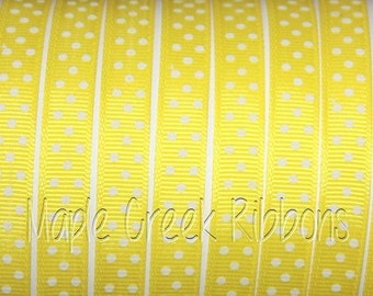 "3/8"" Yellow with White Polka Dots Grosgrain Ribbon 3/8"" x 1 yard"