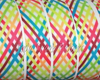 "7/8"" Rainbow Stripe Grosgrain Ribbon 7/8"" x 1 yard"
