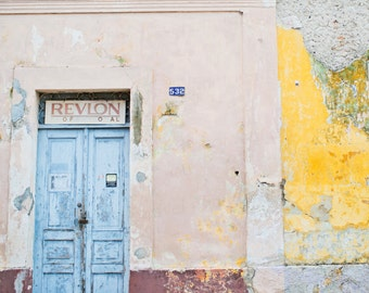 Merida Mexico Photography,  Yucatan Mexico Photography, Blue and Pink Street Art, Vintage Architecture, 8x12 Photo Print