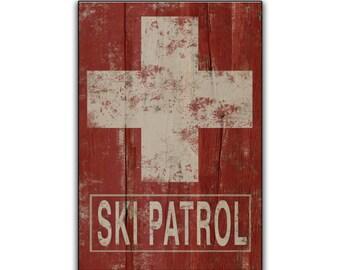 Ski Patrol handmade wooden sign ski art skiing wall art ski plaques winter signs lodge signs cabin signs resort signs ski gifts lodge wall