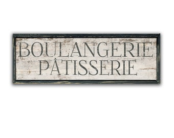 "Boulangerie Patisserie 34""x11""x2"" wooden sign framed in wood kitchen sign kitchen decor bakery signs cafe signs french bakery signs business"