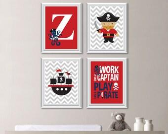 Baby Boy Nursery Art Print - Boy Bedroom Art - Pirate Nursery Art - Pirate Bedroom Art - Pirate Decor - Chevron Gray Black Red (NS-719)