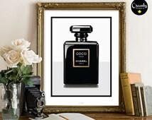 Coco noir chanel Paris, coco chanel perfume bottle illustration, black chanel perfume print, fashion office print, fashion illustration