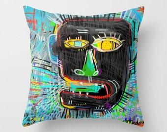 Basquiat Inspired Art Pillow in Three Sizes