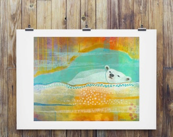 Polar Bear Print, Unique Contemporary Art Print