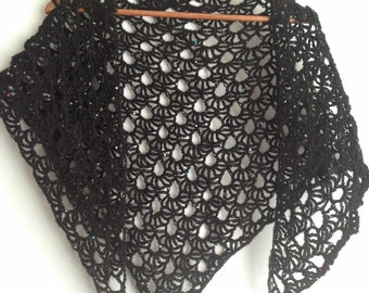 Black crochet scarf with sequins,  wrap, shawl, lacy wrap, ready to ship