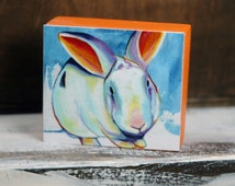 Rabbit Wood Block Collectible - Original Art Block Print or Ornament - by Corina St. Martin